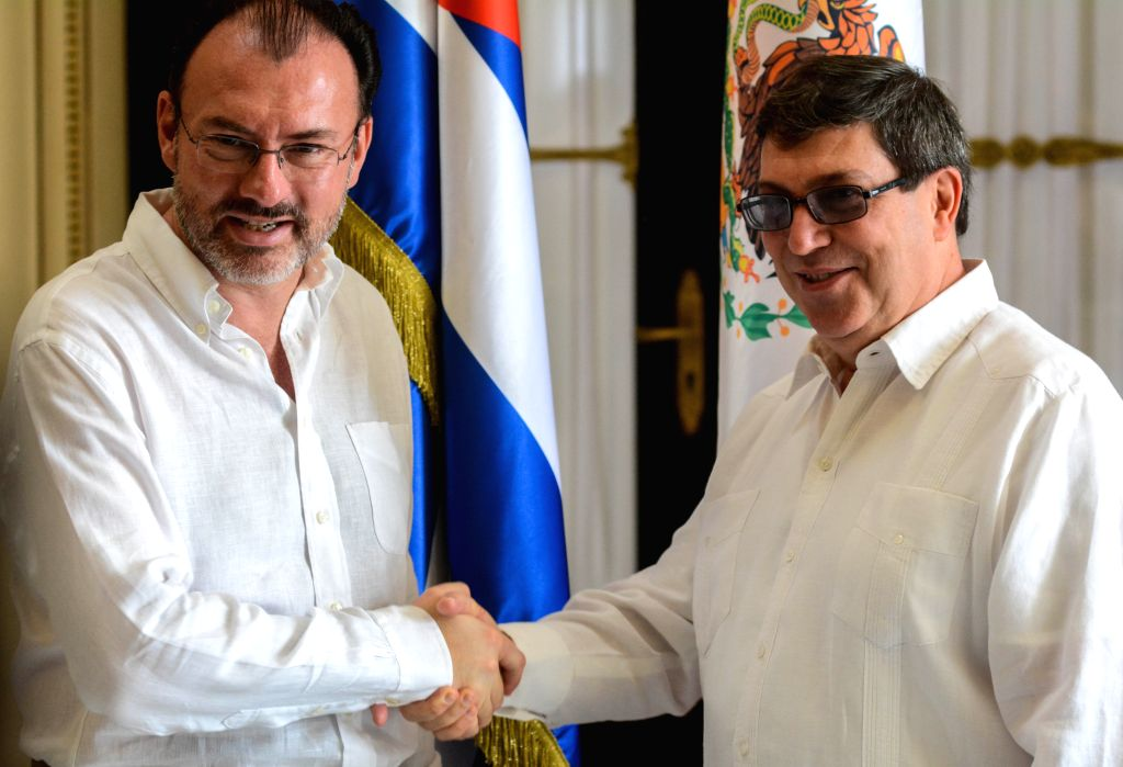 HAVANA, Aug. 19, 2017 - Cuba's Foreign Minister Bruno Rodriguez(R) shakes hands with his Mexican counterpart Luis Videgaray(L) at the headquarters of the Cuban Foreign Ministry in Havana, Cuba, on ... - Bruno Rodriguez