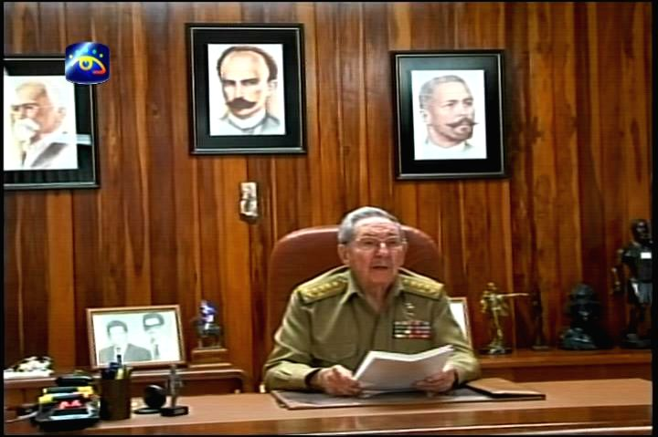 The TV grab taken on Dec. 17, 2014 shows Cuban leader Raul Castro giving a televised speech in Havana, capital of Cuba. Cuban leader Raul Castro confirmed here ...