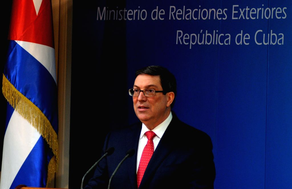 HAVANA, Feb. 20, 2019 - Cuba's Foreign Minister Bruno Rodriguez speaks during a press conference in Havana, Cuba, Feb. 19, 2019. Bruno Rodriguez has warned that Washington is planning a military ... - Bruno Rodriguez