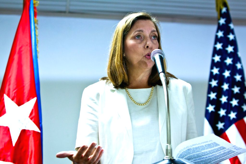 Josefina Vidal, director general of the U.S. Affairs Department at the Cuban Foreign Relations Ministry (Minrex), speaks at the press conference after the talks on ..