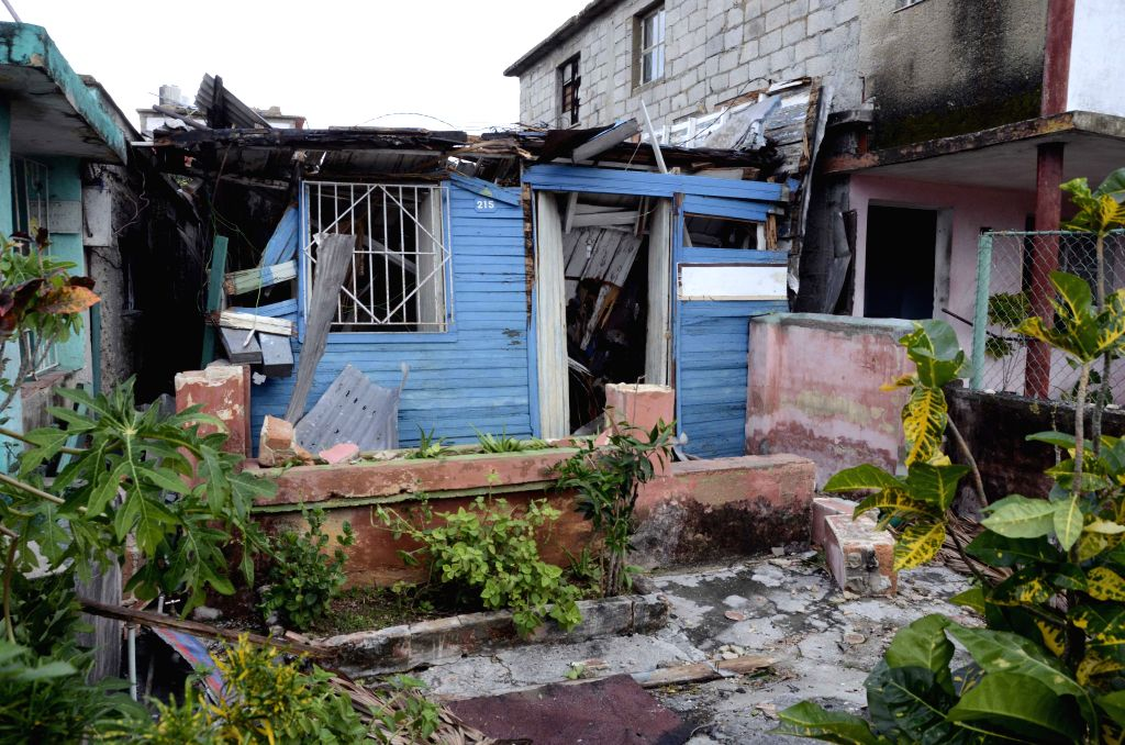 HAVANA, Jan. 29, 2019 (Xinhua) -- A damaged house is seen in the tornado-affected area in the municipality of Regla in Havana, Cuba, Jan. 28, 2019. A powerful tornado passed through the Cuban capital on Sunday night, leaving three people dead and 172