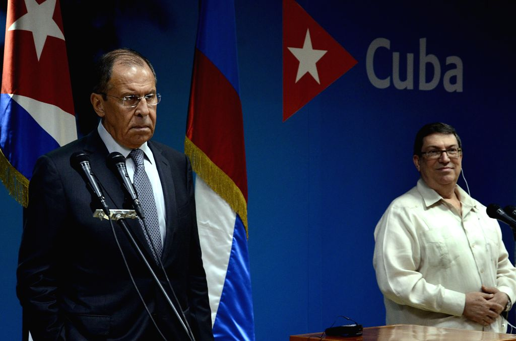 HAVANA, July 25, 2019 - Cuban Foreign Minister Bruno Rodriguez (R) and his Russian counterpart Sergey Lavrov attend a press conference after a meeting in Havana, capital of Cuba, July 24, 2019. Cuban ... - Bruno Rodriguez