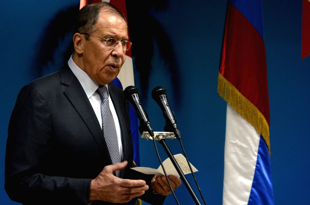 HAVANA, July 25, 2019 - Russian Foreign Minister Sergey Lavrov addresses a press conference after a meeting with Cuban Foreign Minister Bruno Rodriguez in Havana, capital of Cuba, July 24, 2019. ... - Sergey Lavrov