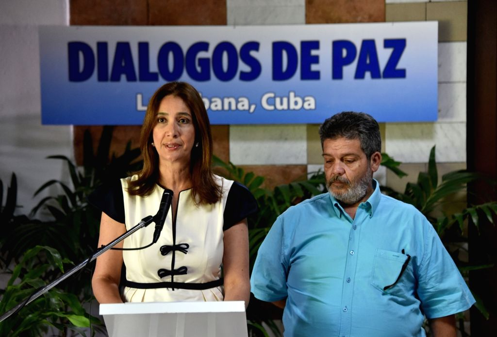 HAVANA, June 22, 2016 - Marcela Duran (L), member of the delegation that represents the Colombian government in the peace talks with the Revolutionary Armed Forces of Colombia (FARC), and Marcos ...