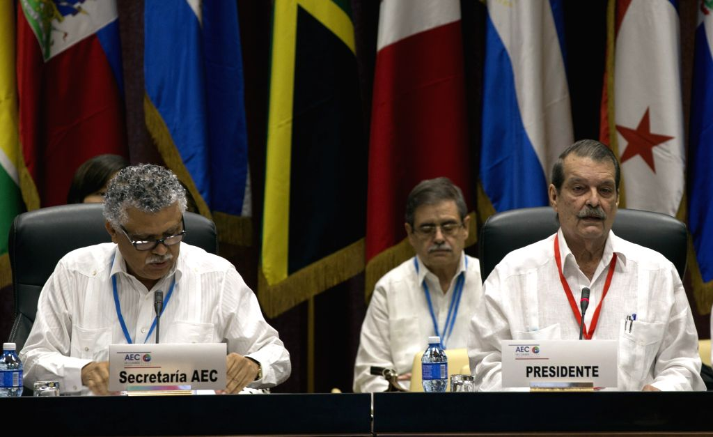 HAVANA, June 3, 2016 - Alfonso Munera (L), secretary general of the Association of Caribbean States (ACS) and Cuban Deputy Foreign Minister Abelardo Moreno (R) attend a senior officials' meeting to ... - Abelardo Moreno
