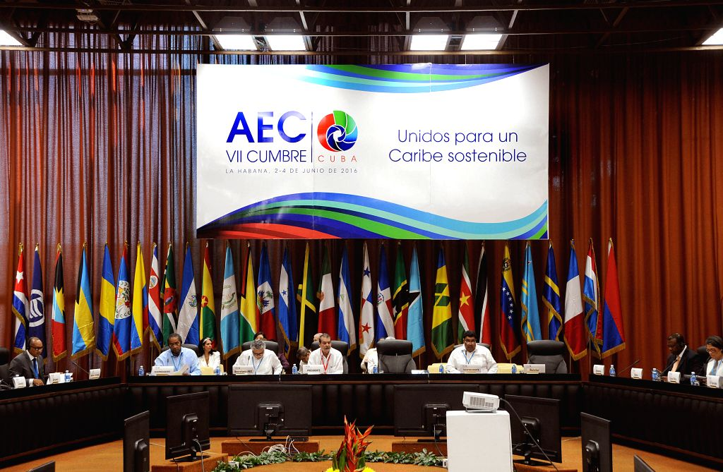 HAVANA, June 3, 2016 - Senior officials hold a meeting to prepare for the 7th Summit of the Association of Caribbean States in Havana, Cuba, June 2, 2016. The summit, which will end on June 4, is ...