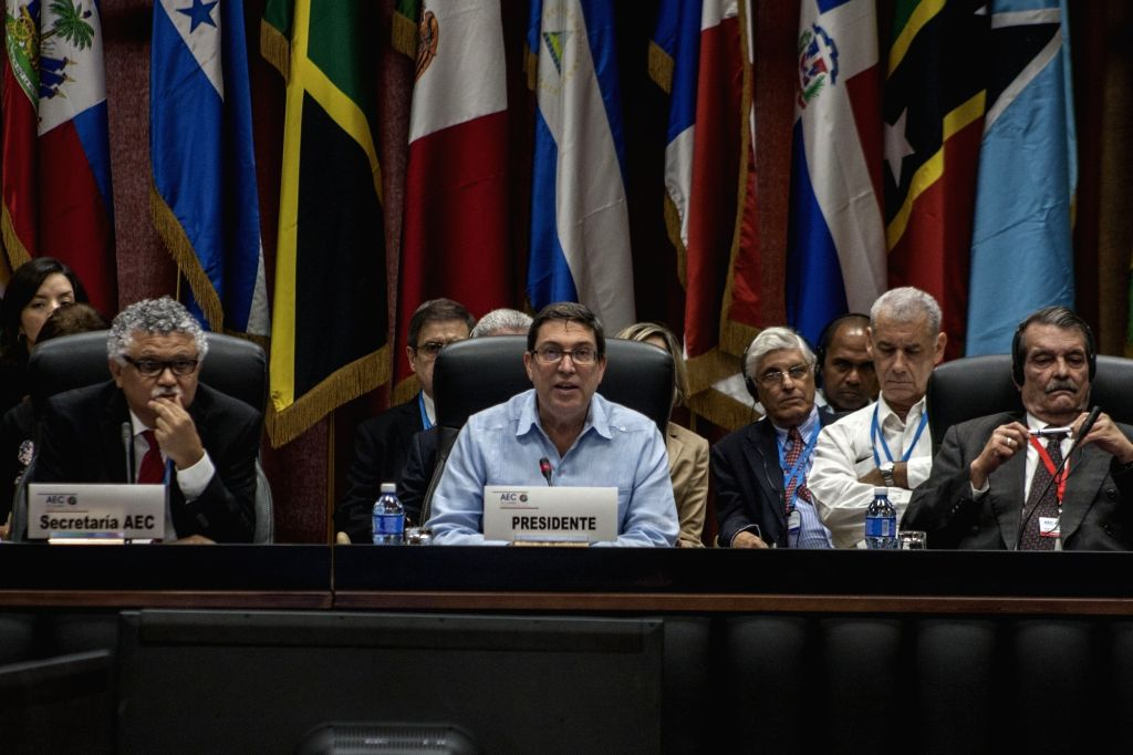 HAVANA, June 4, 2016 - Cuban Foreign Minister Bruno Rodriguez (C) addresses the foreign ministers' meeting of the Association of Caribbean States in Havana, capital of Cuba, June 3, 2016. The ... - Bruno Rodriguez