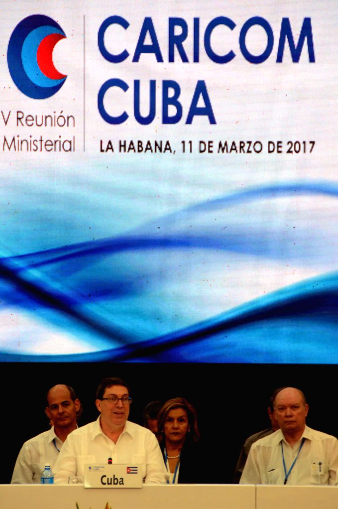 HAVANA, March 12, 2017 - Cuban Foreign Minister Bruno Rodriguez (L front) speaks at the inauguration of the 5th CARICOM-Cuba Ministerial Meeting in Havana, Cuba, on March 11, 2017. Cuba and the ... - Bruno Rodriguez
