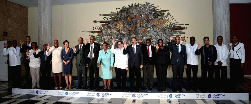 HAVANA, March 12, 2017 - Participants attending the 5th CARICOM-Cuba Ministerial Meeting pose for a group photo in Havana, Cuba, on March 11, 2017. Cuba and the Caribbean Community (CARICOM)announced ...