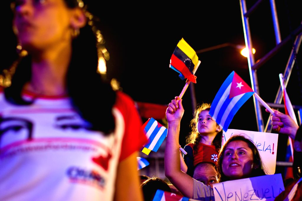 Cubans rally to support Venezuela in a mounting row with the U.S. at Havana University in Havana, Cuba, March 15, 2015. Cuban government confirmed its solidarity ...