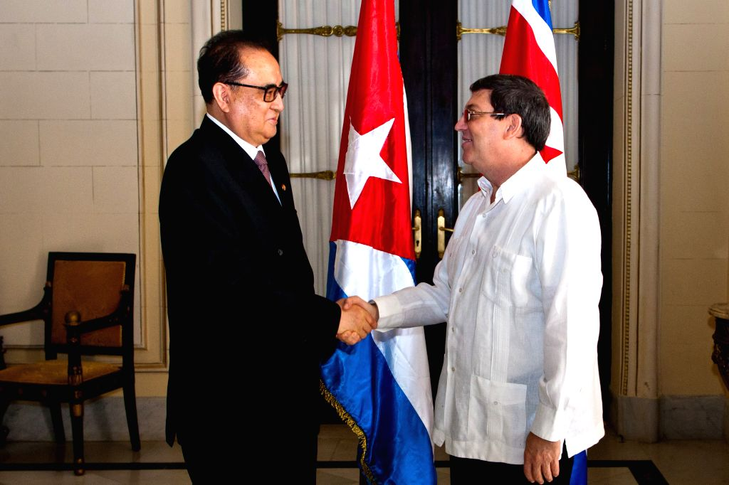 The Minister of Foreign Affairs of the Democratic People's Republic of Korea (DPRK) Ri Su-Yong (L) shakes hands with Cuban Foreign Minister Bruno Rodriguez Parrilla ... - Bruno Rodriguez Parrilla