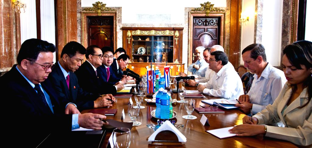 The Minister of Foreign Affairs of the Democratic People's Republic of Korea (DPRK) Ri Su-Yong (3rd L) meets with Cuban Foreign Minister Bruno Rodriguez Parrilla ... - Bruno Rodriguez Parrilla