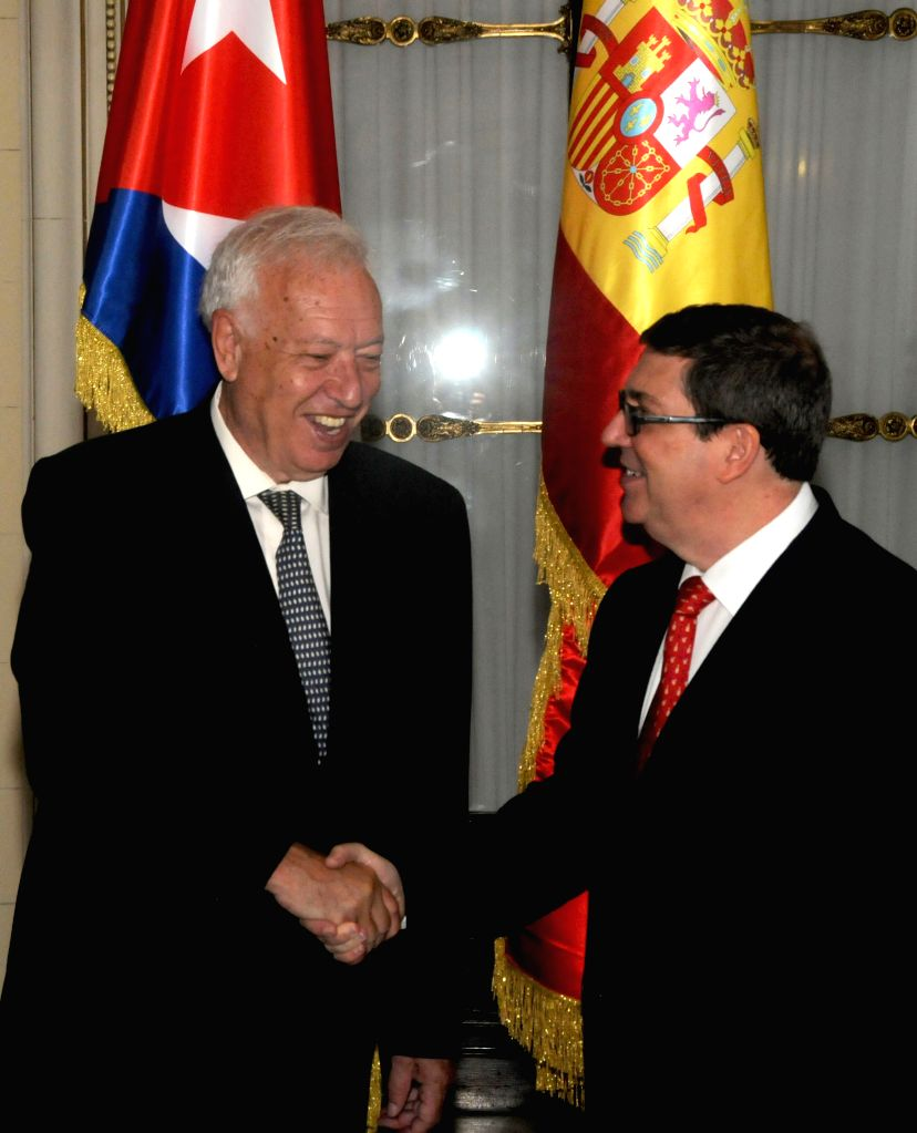 HAVANA, May 17, 2016 - Cuban Foreign Minister Bruno Rodriguez (R) meets with his Spanish counterpart Jose Manuel Garcia-Margallo in Havana May 16, 2016. Jose Manuel Garcia-Margallo ended a three-day ... - Bruno Rodriguez
