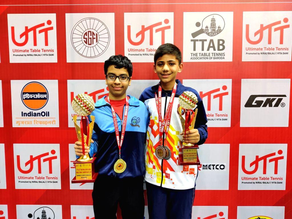 Havish Asrani (Left) U-14 boys single champion and runners-up Kushal (right) UTT 65th National School Games.