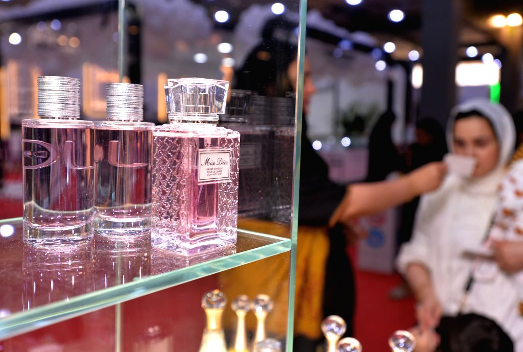 HAWALLI GOVERNORATE (KUWAIT), Oct. 24, 2019 Bottles of perfume are seen at a perfume exhibition in Hawalli Governorate, Kuwait, on Oct. 24, 2019. Kuwait held the perfume exhibition here ...