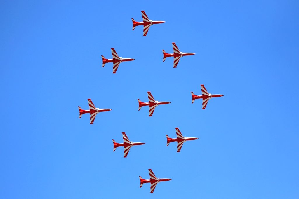 Hawk MK 132 aircraft of Indian Air Force's Surya Kiran display team rehearse ahead of AERO India 2019 at Air Force Station Yelahanka in Bengaluru on Feb 18, 2019.
