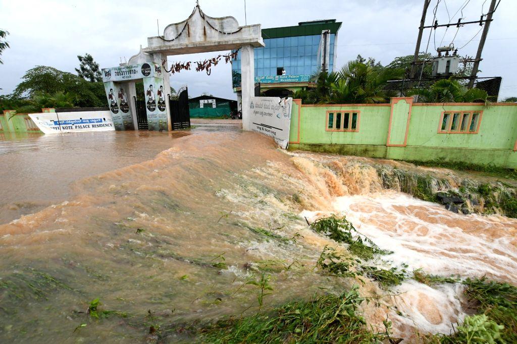 HD Kote: A view of flood hit areas of H.D.Kote in Karnataka's Mysuru district on Aug 8, 2019.
