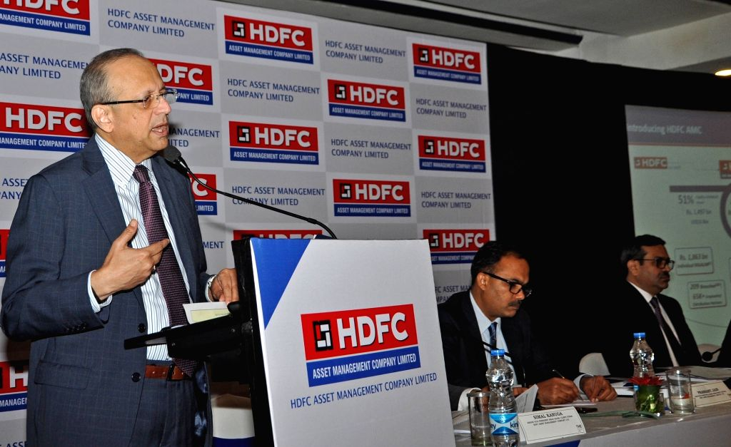 HDFC Asset Management Company (AMC) Limited MD Milind Brave addresses at a press conference during the launch of initial public offering (IPO), in Kolkata, on July 24, 2018.