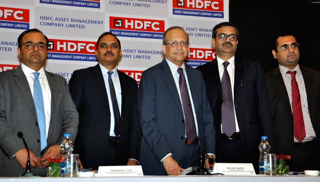 HDFC Asset Management Company (AMC) Limited MD Milind Brave and other dignitaries at a press conference during the launch of initial public offering (IPO), in Kolkata on  July 24, 2018.