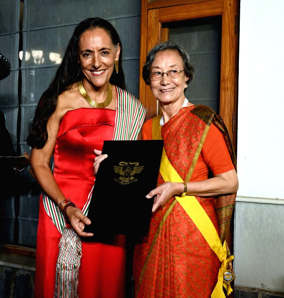 HE, Ms. Melba Pría, Ambassador of Mexico to India presenting the prestigious award 'The Order of the Aztec Eagle' to Chokila Iyer, India's first female Foreign secretary, during a ...