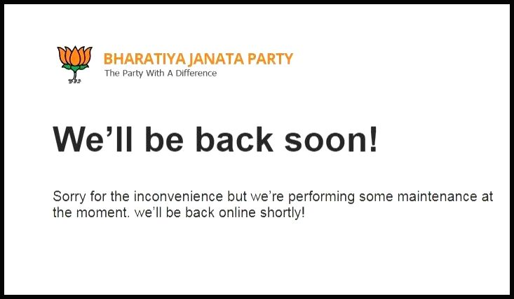 he website of the Bharatiya Janata Party (BJP) went into maintenance mode after an alleged hacking attempt early on March 5, 2019.
