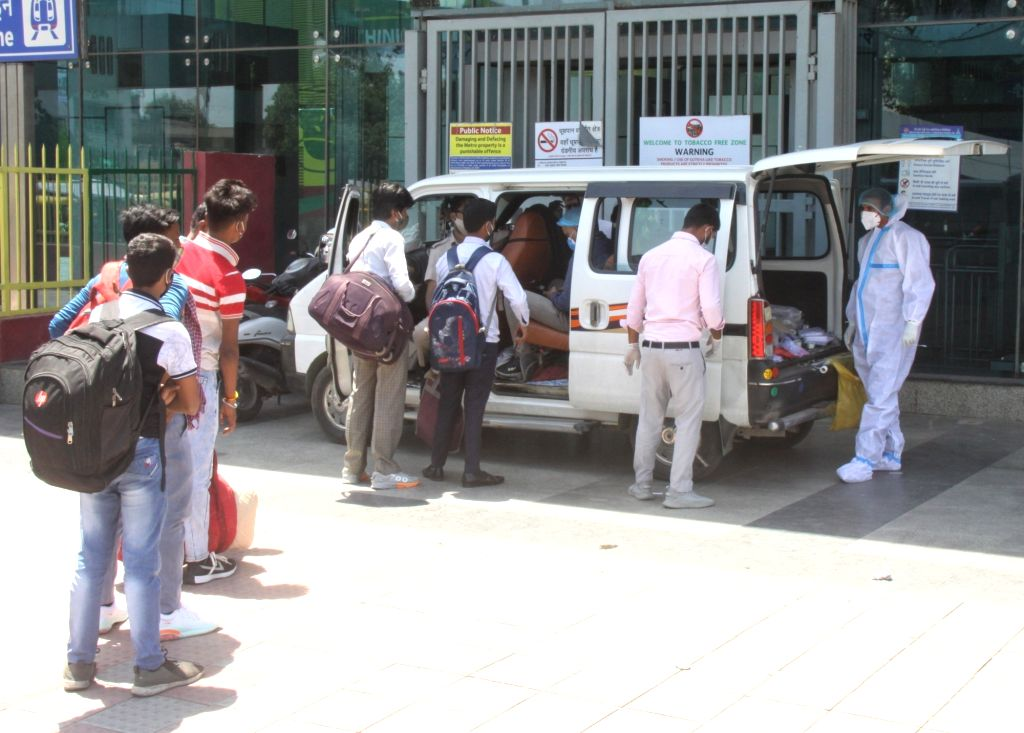 Health worker collect swab sample for Covid-19 testing at New Delhi metro station in New Delhi on Tuesday, 25 May, 2021.