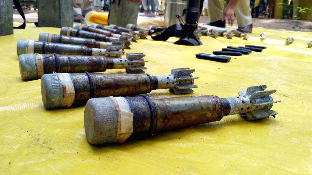 Heavy Explosives recovered by Central Reserve Police Force (CRPF) personnel during a searching operation with police in Latehar of Jharkhand on May 9, 2017.