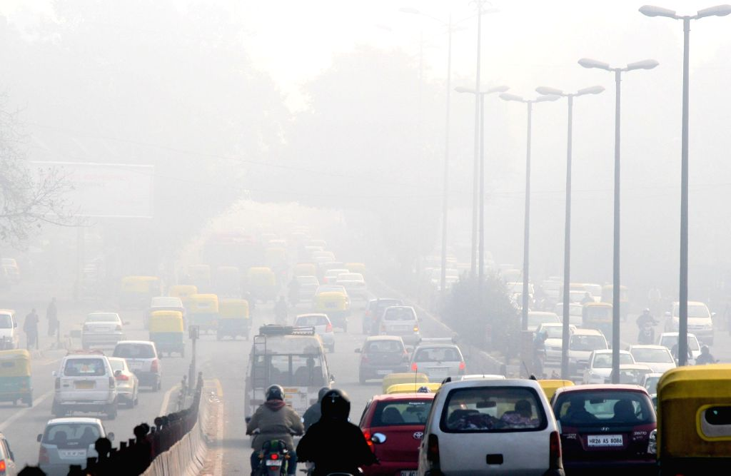 Heavy fog, which caused  low visibility in New Delhi. (Photo: IANS/Amlan)