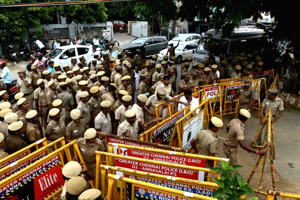 Heavy police deployment during Congress' demonstration against the arrest of senior party leader P. Chidambaram, in Chennai on Sep 6, 2019.