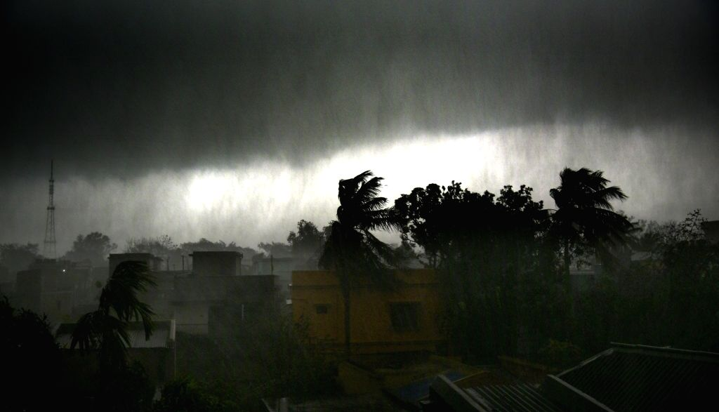 Heavy rain accompanied by storm lashes Bolpur in West Bengal's Birbhum, on April 26, 2019.