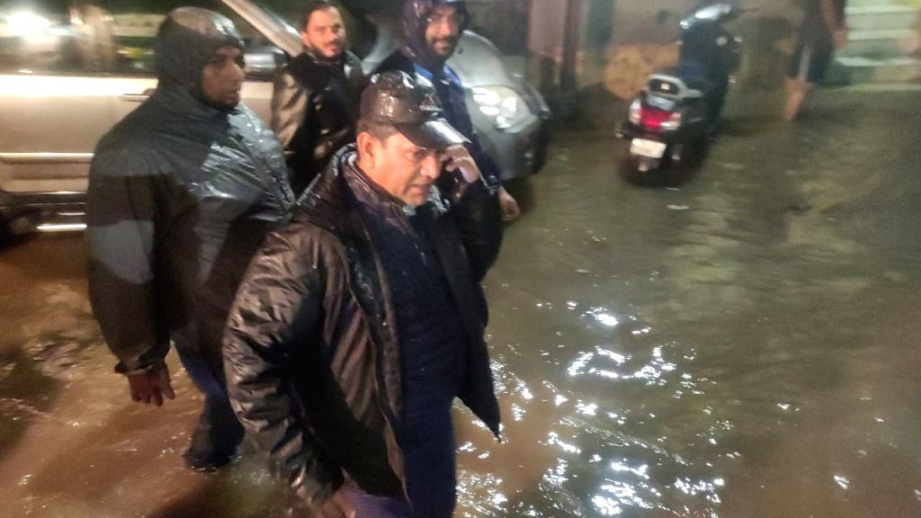 Heavy rain AIMIM caravan MLA Kausar Mohiuddin saw flood water caravan Hakimpet in Hyderabad on Saturday, September 25, 2021.