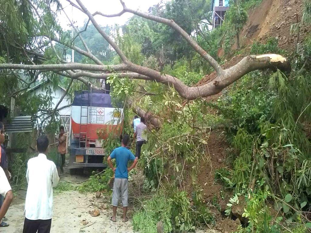 Heavy rains cause landslides in Aizawl of Mizoram on June 13, 2017.