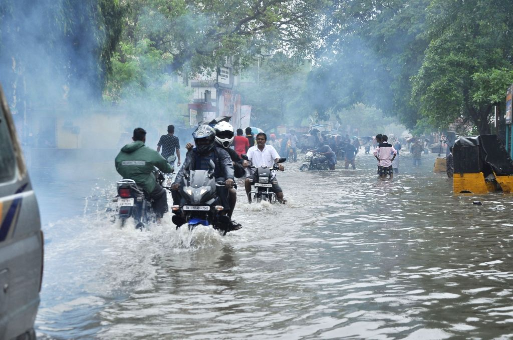 Heavy rains cause waterlogging and flooding of streets in Chennai on Nov. 16, 2015.
