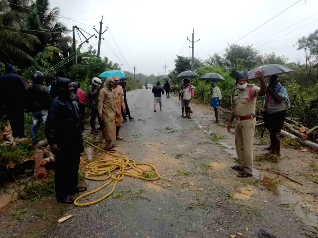 Heavy rains due to the effect of Cyclonic storm Nivar, uprooted trees and left several areas in Chittoor waterlogged on Nov 26, 2020.