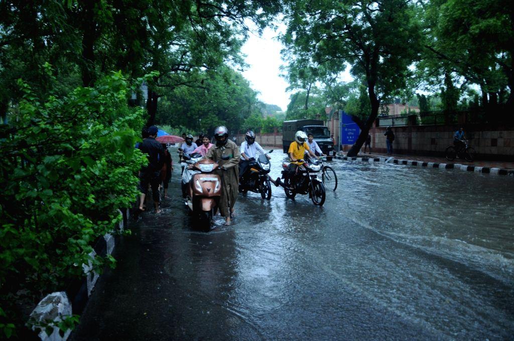 Heavy rains lash New Delhi on July 16, 2016.