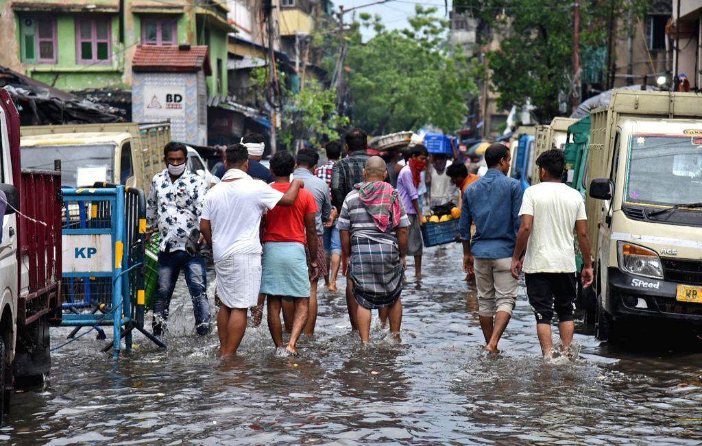 Heavy rains leave Kolkata streets waterlogged on May 6, 2020.
