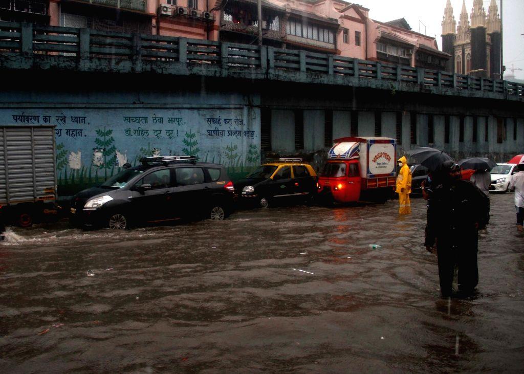 Heavy rains leave Mumbai streets inundated, on July 4, 2020.