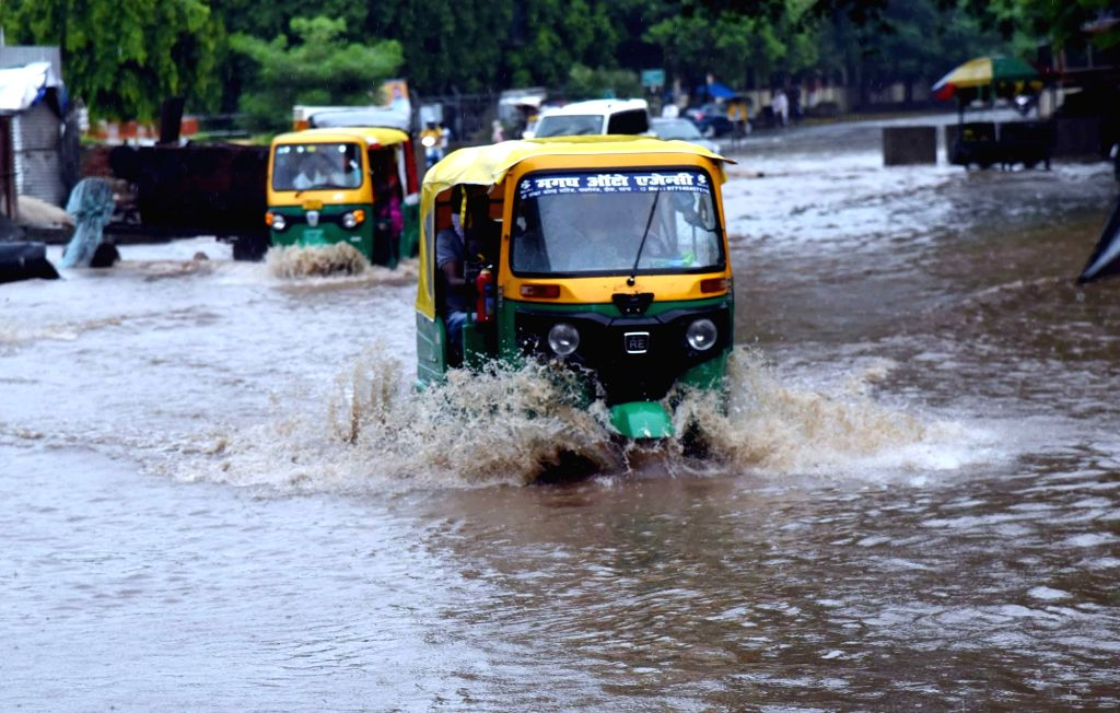 Heavy rains leave Patna streets inundated, on July 4, 2020.