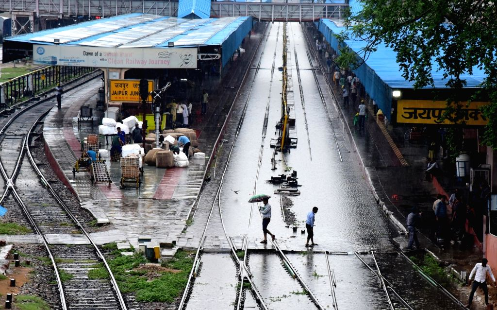 Heavy rains leave railway tracks at the Jaipur Junction station water-logged, on July 26, 2019.