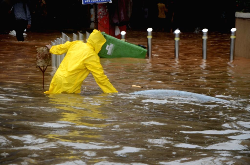 Heavy rains leave streets flooded, in Mumbai on June 9, 2018.