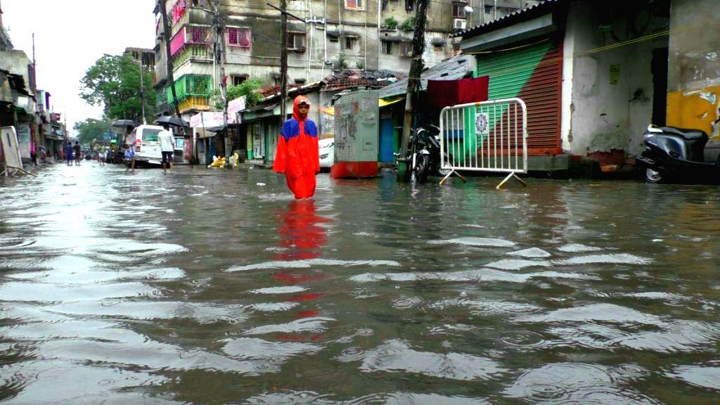 Heavy rains leave streets waterlogged, in Kolkata on July 26, 2018.