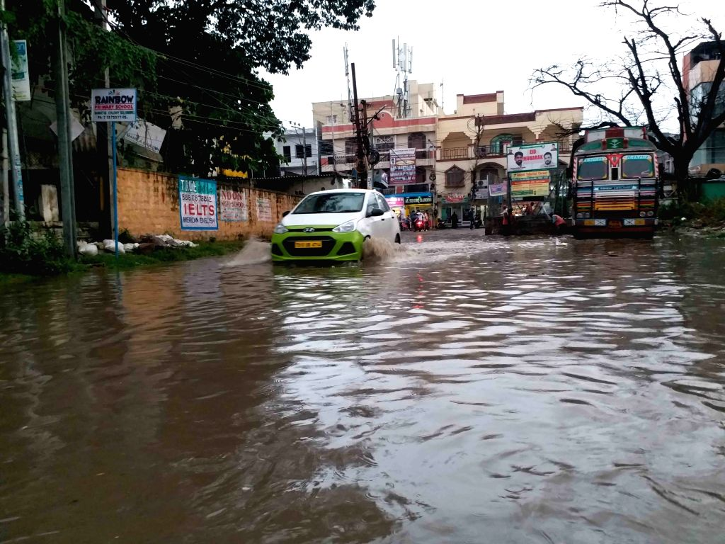Heavy rains leaves a Hyderabad street water-logged, on Sep 20, 2019.