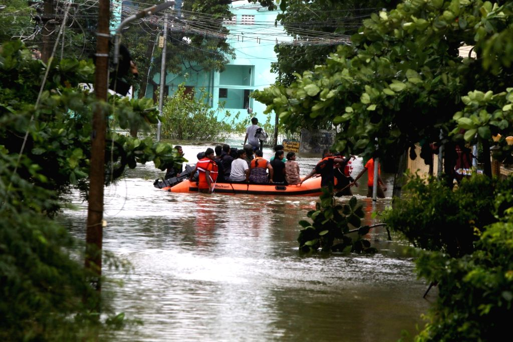 Heavy rains triggered by cyclonic storm Nivar resulted in floods in Chennai, on Nov 26, 2020.