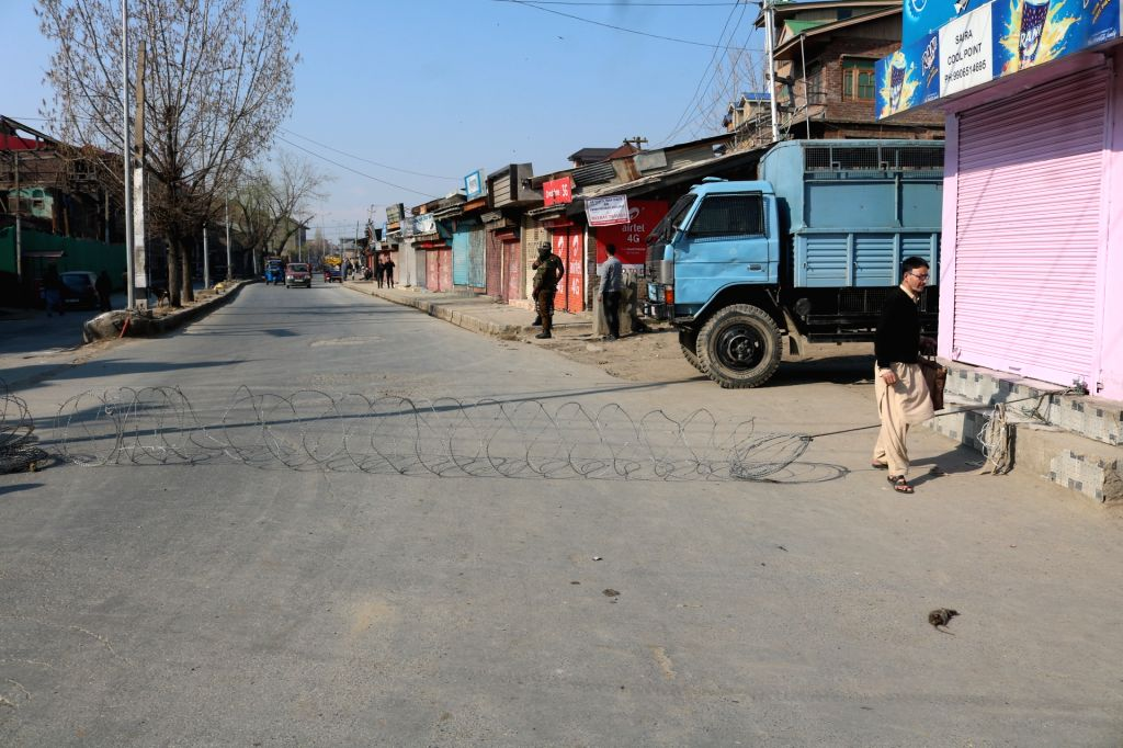 Heavy restrictions imposed in Srinagar amid COVID-19 outbreak, on March 19, 2020.