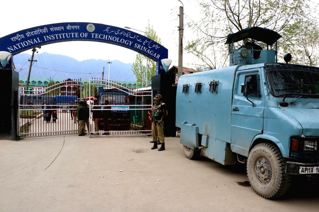 Heavy security at the Srinagar campus of National Institute of Technology where clashes broke out between a section of students and police on April 8, 2016. The campus atmosphere has been ...
