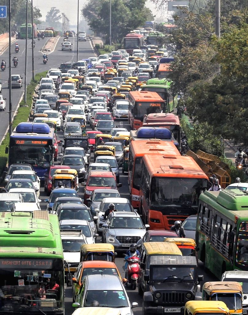 Heavy traffic jam at ITO in new Delhi.