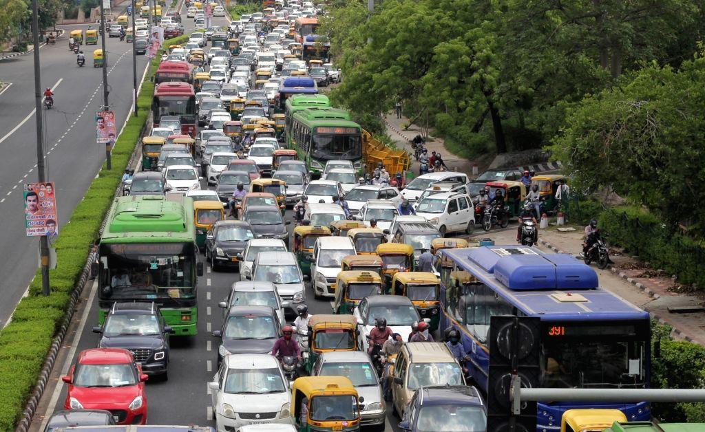 Heavy traffic jam at Vikas Marg ITO in new Delhi on Saturday June 19, 2021.