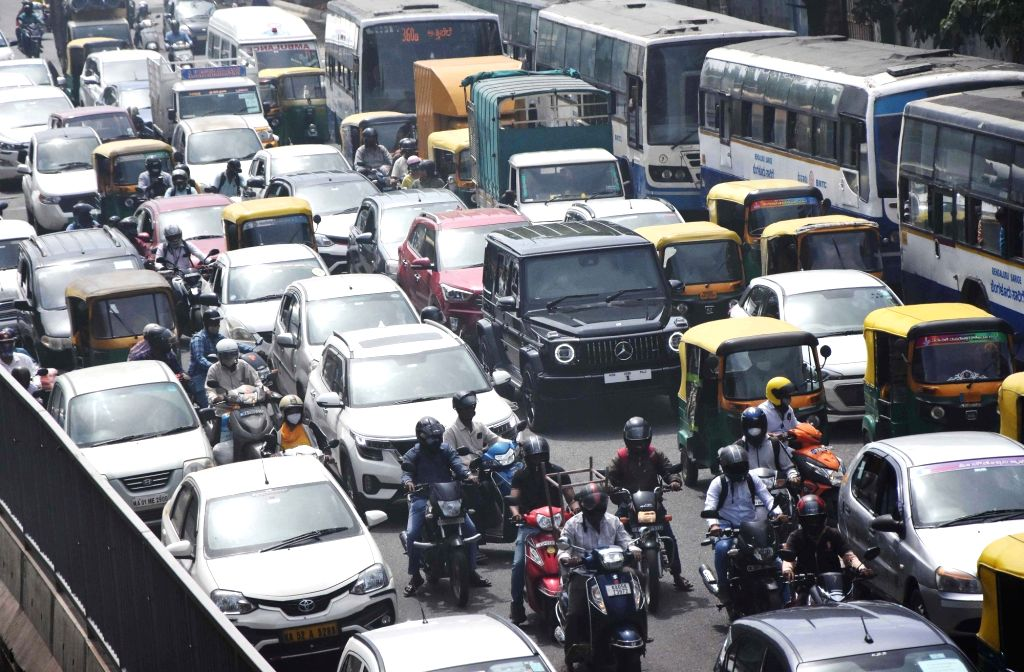 Heavy traffic on the busy Seshadri Road, as the Karnataka government eased restrictions for travel amid ongoing Coronavirus lockdown, in Bengaluru on Friday, June 25, 2021