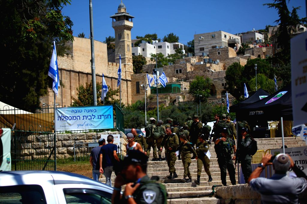 HEBRON, Sept. 4, 2019 - Israeli soldiers stand guard during the visit of Israeli Prime Minister Benjamin Netanyahu in the West Bank city of Hebron, on Sept. 4, 2019. Israeli Prime Minister Benjamin ... - Benjamin Netanyahu