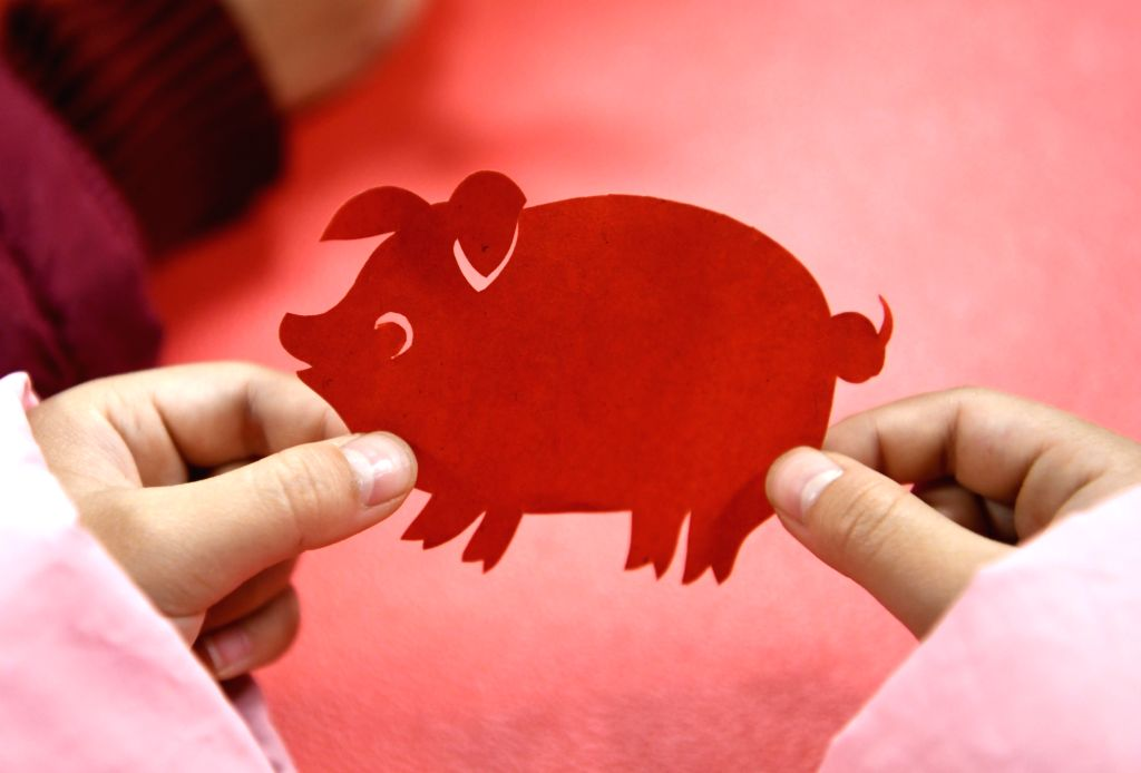 HEFEI, Feb. 4, 2019 (Xinhua) -- A child shows a piglet-shaped paper-cutting work at Furong Community in Jingkai District of Hefei City, capital of east China's Anhui Province, Feb. 1, 2019. Chinese New Year festival falls on Tuesday this year. The co